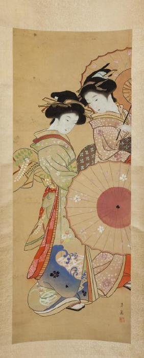 SCROLL PAINTING OF TWO JAPANESE BEAUTIES
