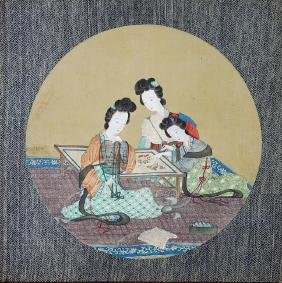 CHINESE PAINTING ON SILK OF BEAUTIES