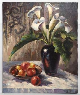 LILIES AND FRUIT STILL LIFE OIL ON CANVAS PAINTING