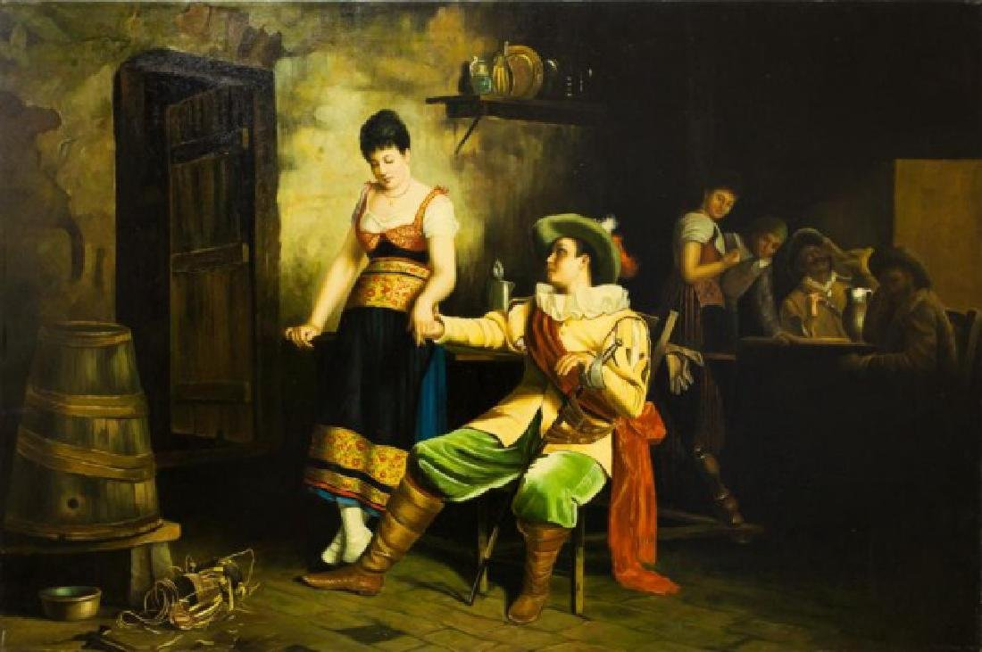 OIL ON CANVAS PAINTING OF A MAN AND WOMAN
