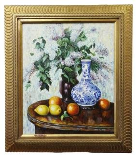 STILL LIFE WITH VASE OIL ON CANVAS PAINTING