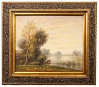 LANDSCAPE WITH COWS OIL ON CANVAS PAINTING