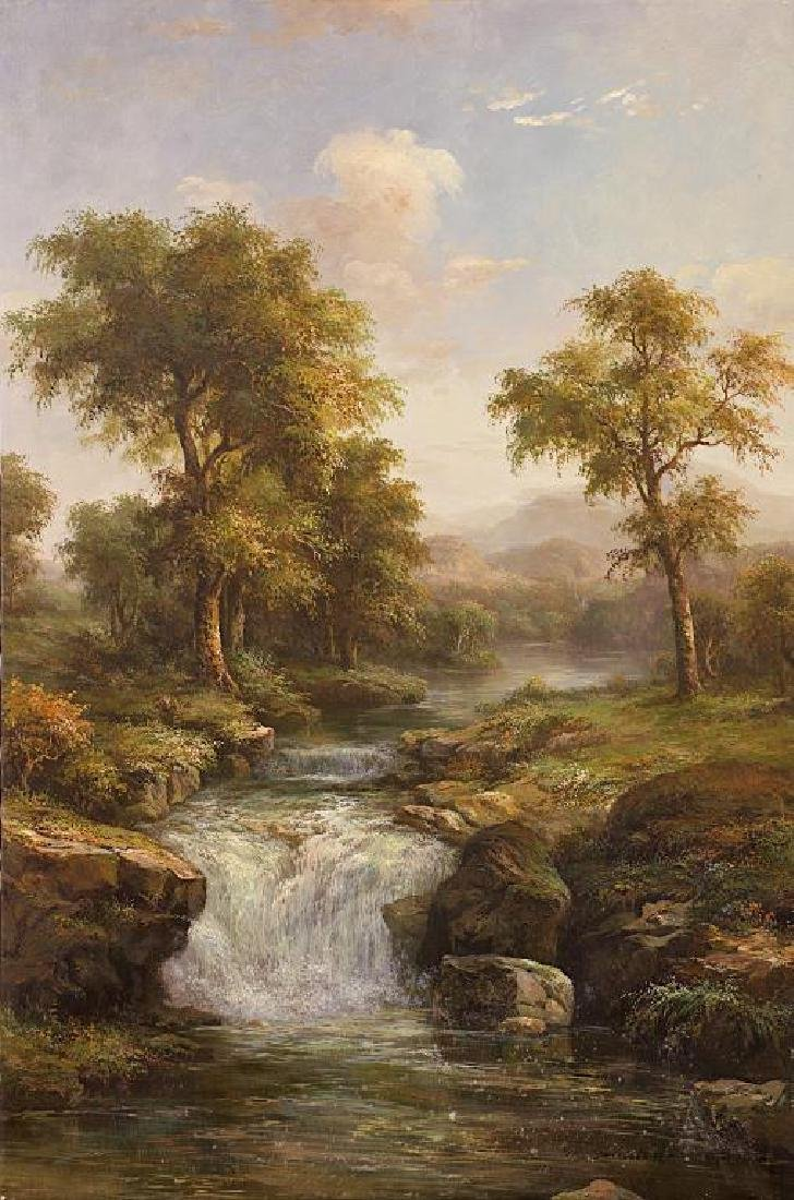 RIVER LANDSCAPE SCENE OIL ON CANVAS PAINTING