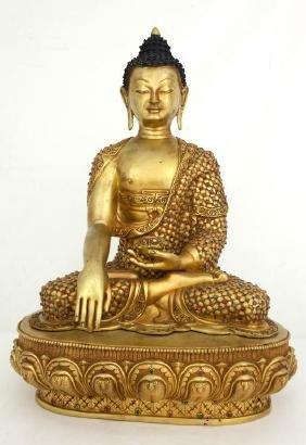 TIBETAN SEATED BUDDHA STATUE WITH INLAID GEMS