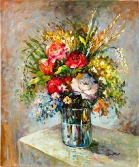 OIL ON CANVAS PAINTING OF FLOWERS IN A VASE