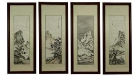 FRAMED CHINESE PAINTINGS OF FOUR SEASONS