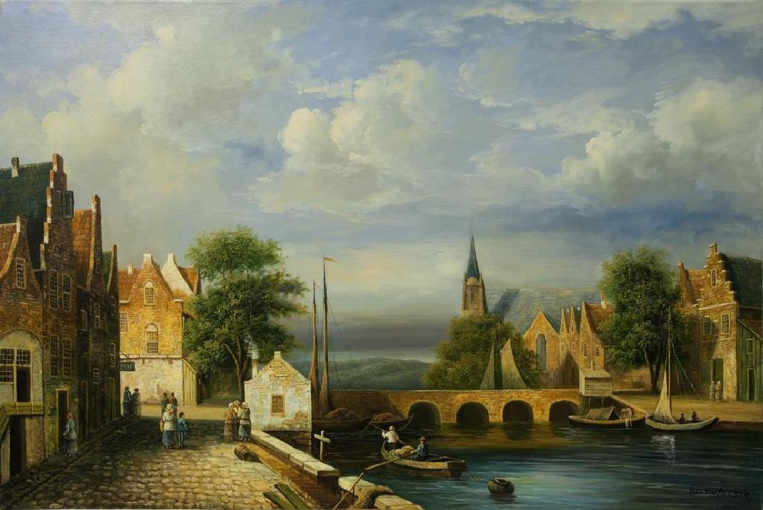OIL ON CANVAS PAINTING OF A CANAL VILLAGE