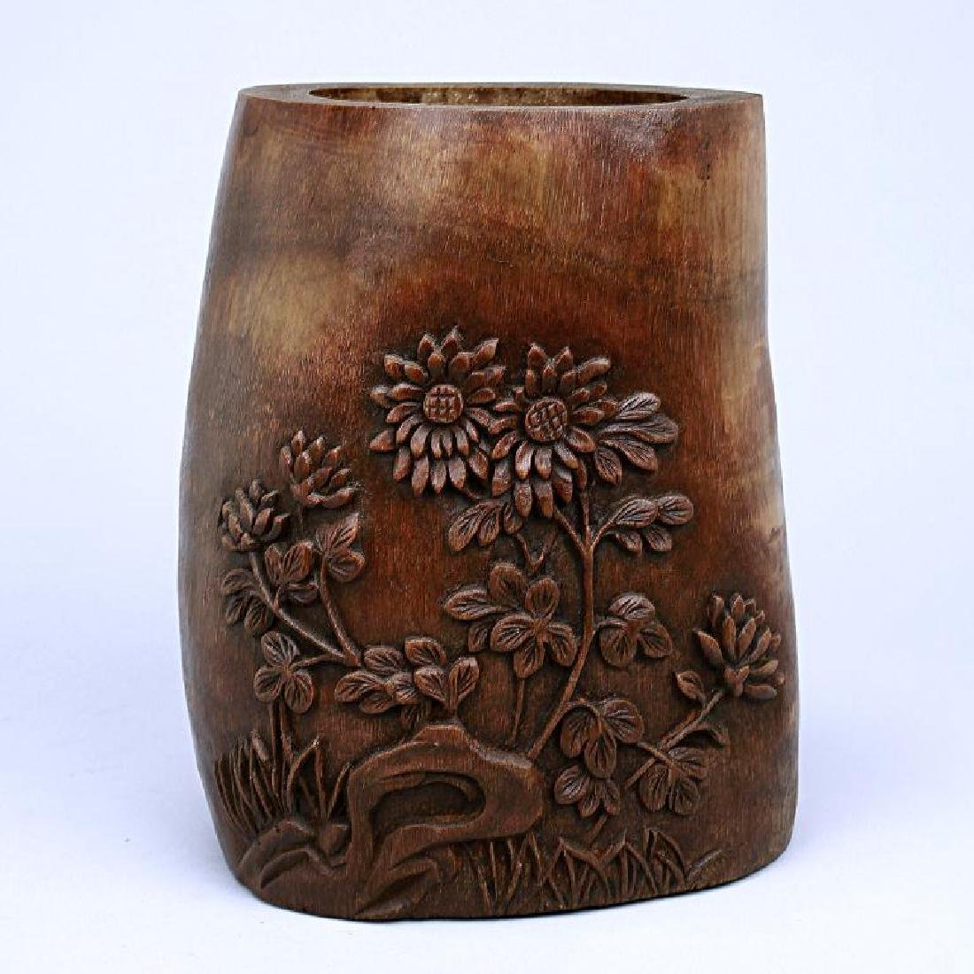 CHINESE HAND-CARVED BAMBOO BRUSHPOT - 2