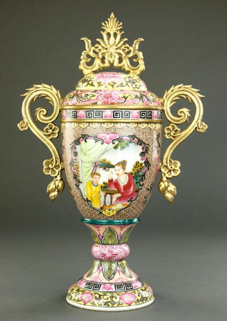 PINK GROUND LIDDED URN