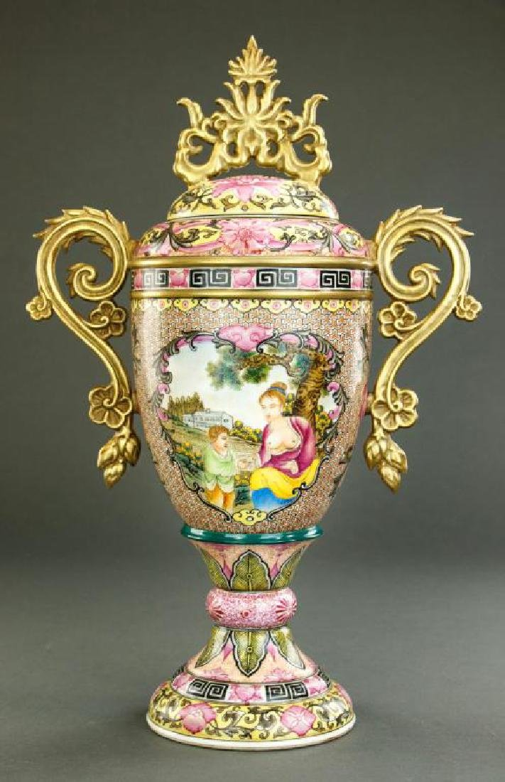 PINK GROUND LIDDED URN - 2