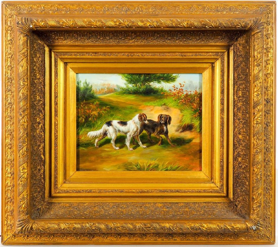 OIL PAINTING ON CANVAS OF HUNTING DOGS