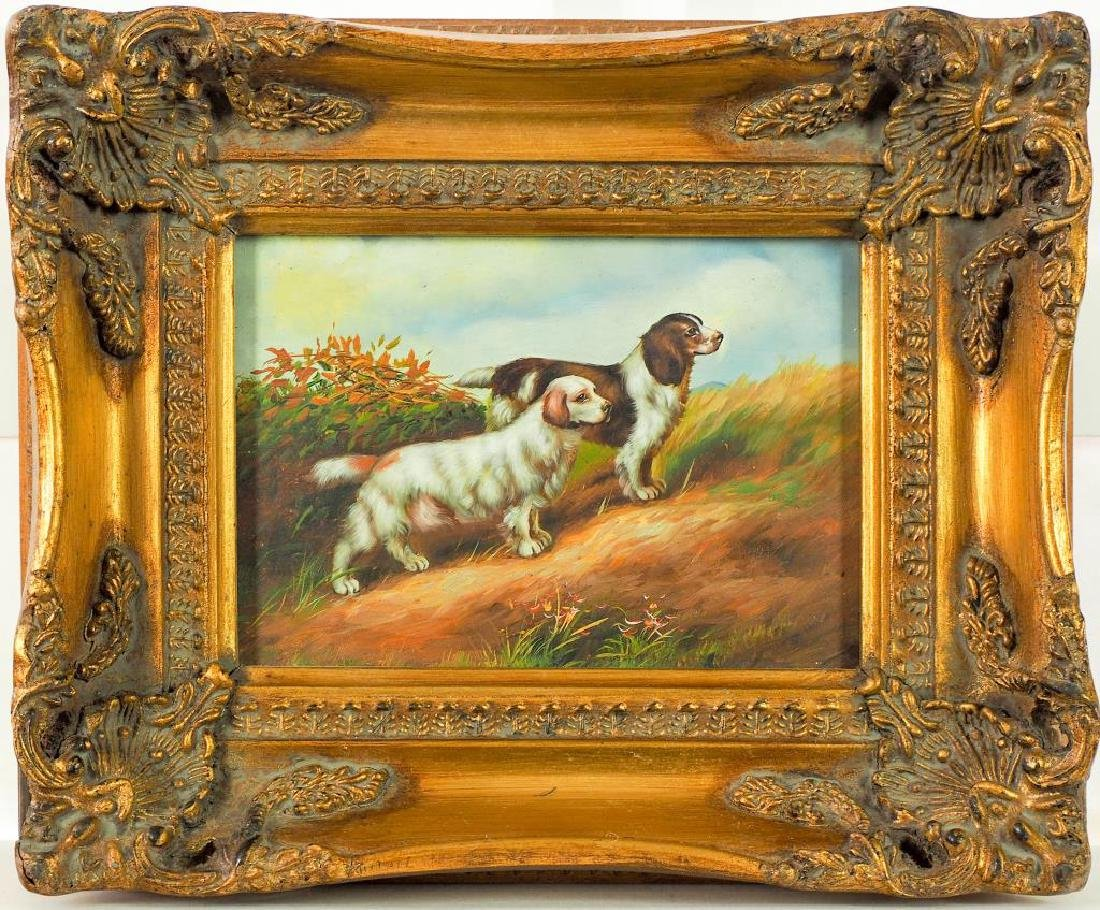GILT FRAMED OIL PAINTING OF TWO HUNTING DOGS