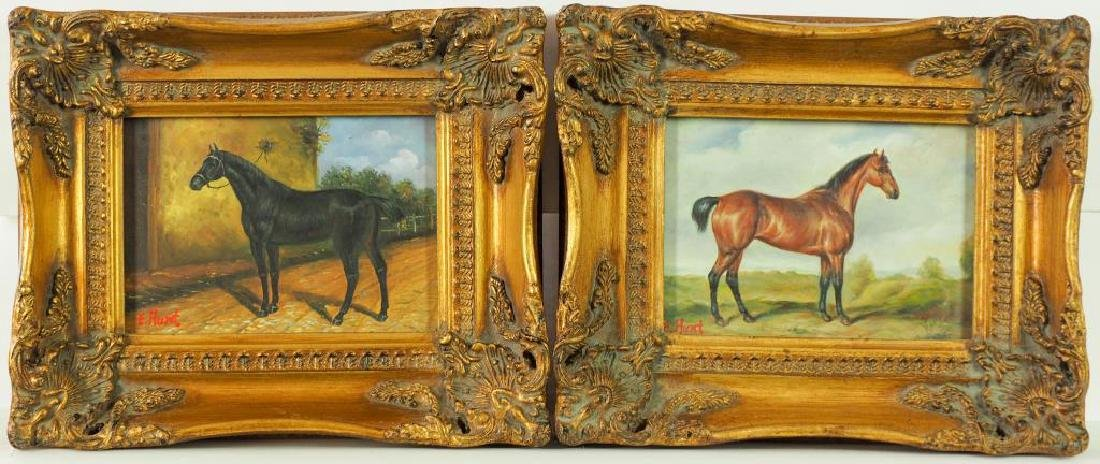 A PAIR OF OIL PAINTING ON BOARD OF HORSES