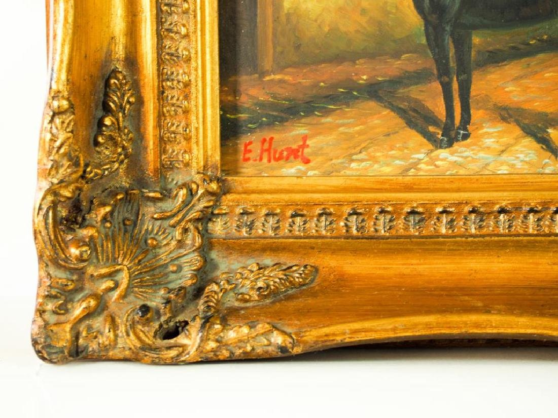 A PAIR OF OIL PAINTING ON BOARD OF HORSES - 3