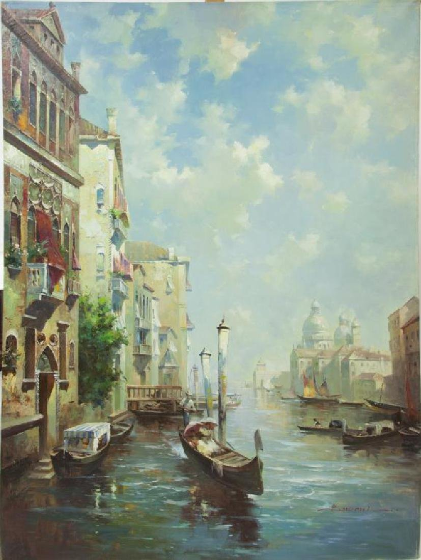 LARGE OIL ON CANVAS PAINTING OF VENICE, ITALY
