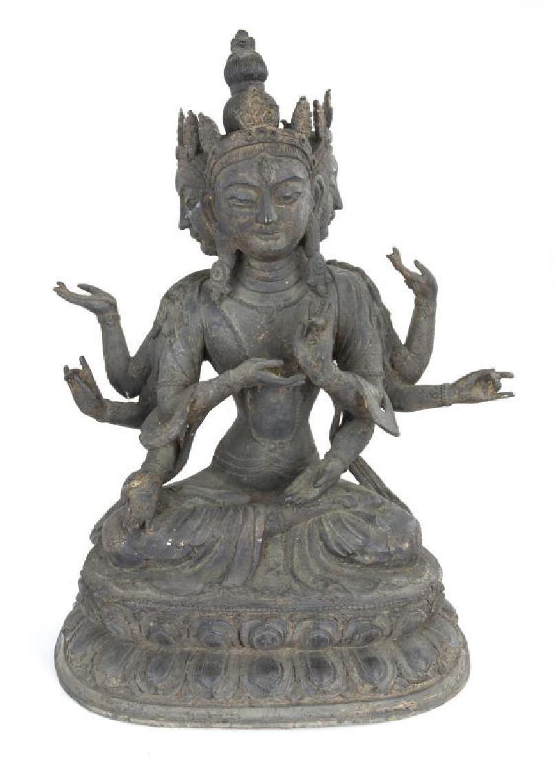17/18TH CENTURY TIBETAN BRONZE THREE-FACED BUDDHA