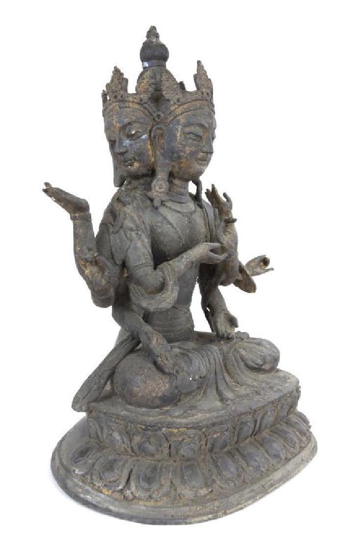 17/18TH CENTURY TIBETAN BRONZE THREE-FACED BUDDHA - 3