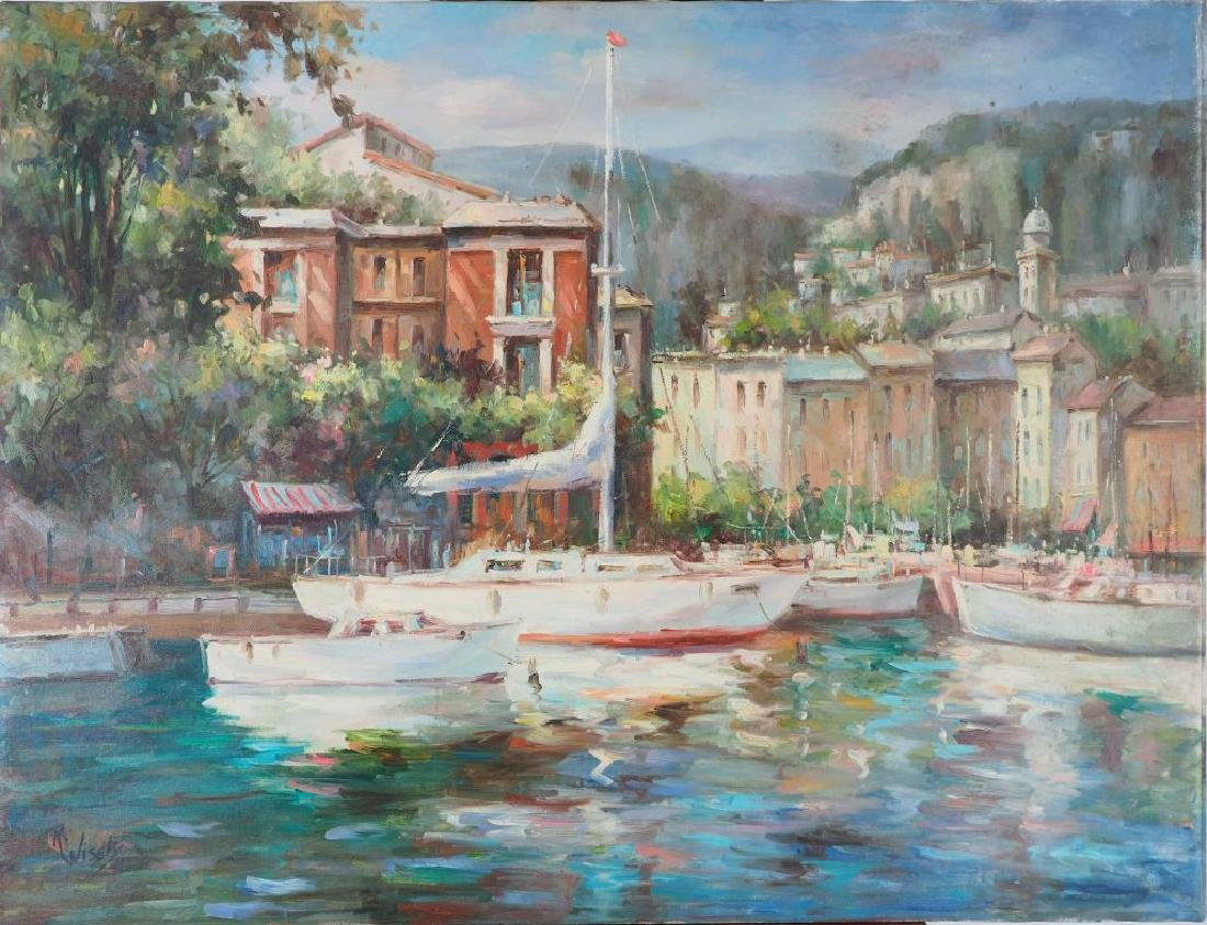 OIL PAINTING ON CANVAS OF A  LAKE VIEW