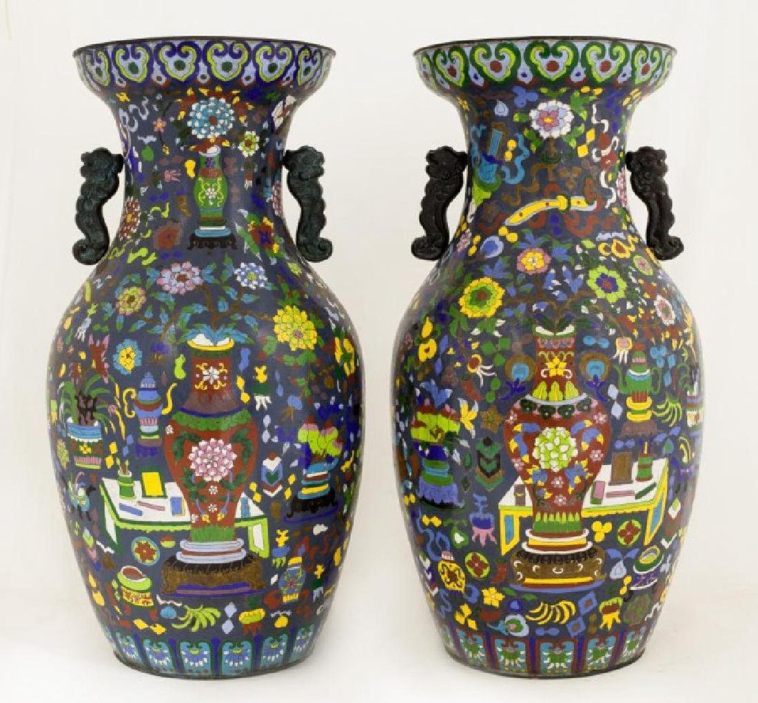 PAIR OF LARGE MULTICOLOR CHINESE CLOISONNE VASES