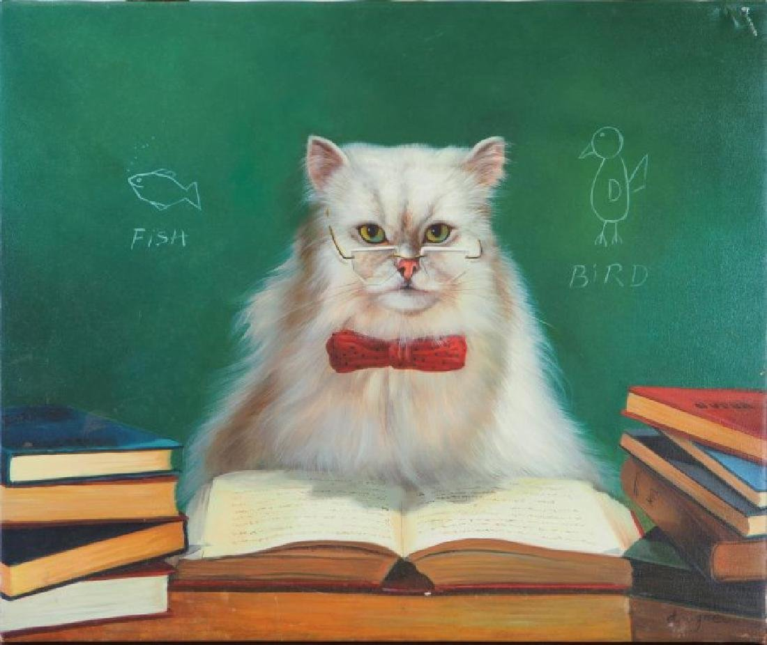 OIL ON CANVAS PAINTING OF A CAT READING A BOOK