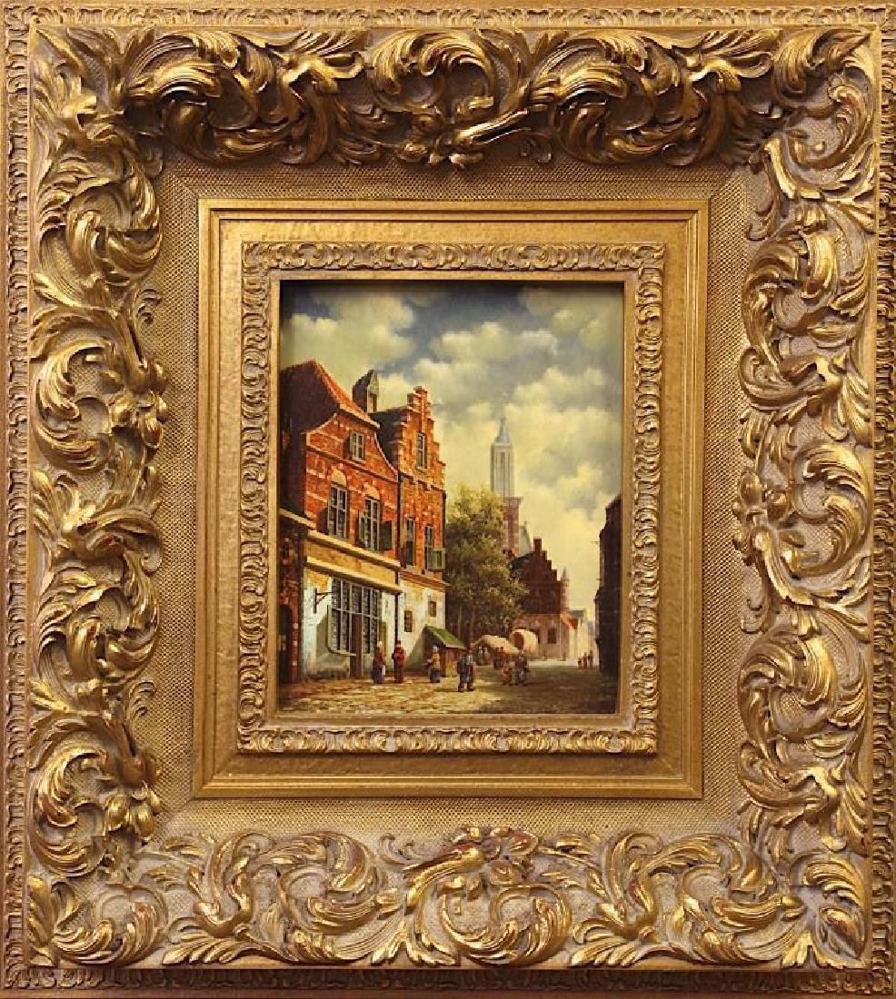 OIL PAINTING ON BOARD OF AN EUROPEAN CITY SCENE