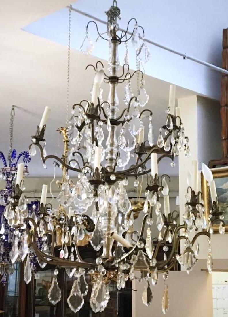 18-LIGHT BRONZE AND CRYSTAL CHANDELIER
