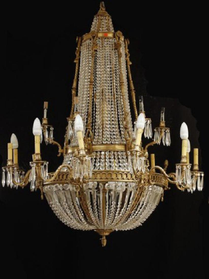 MASSIVE BRONZE AND CRYSTAL CHANDELIER