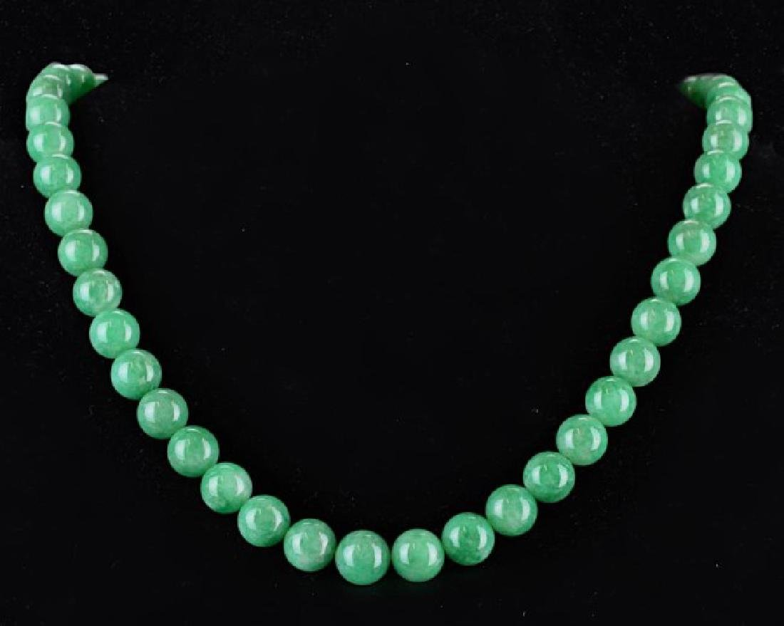 TRANSLUCENT GREEN JADEITE BEAD NECKLACE WITH BOX