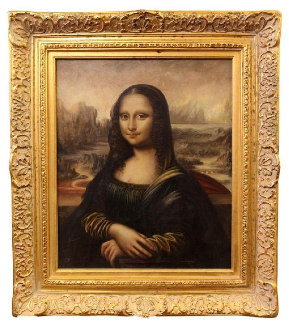MONA LISA OIL ON CANVAS PAINTING WITH GILT FRAME