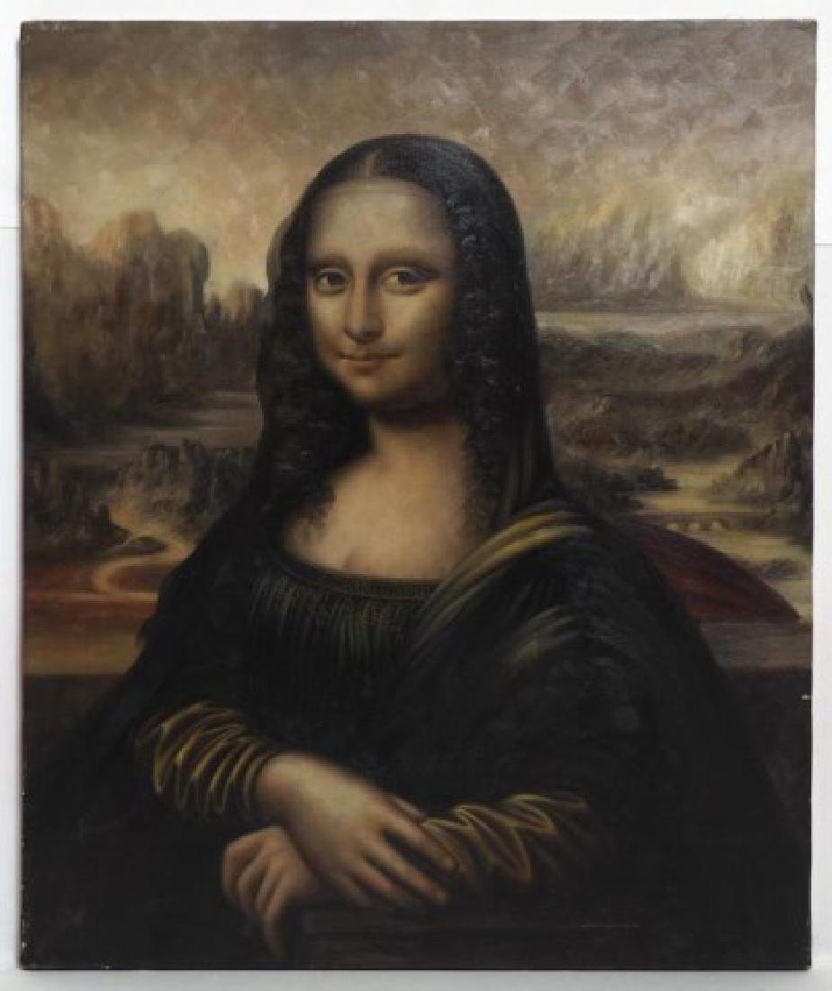 MONA LISA OIL ON CANVAS PAINTING WITH GILT FRAME - 2