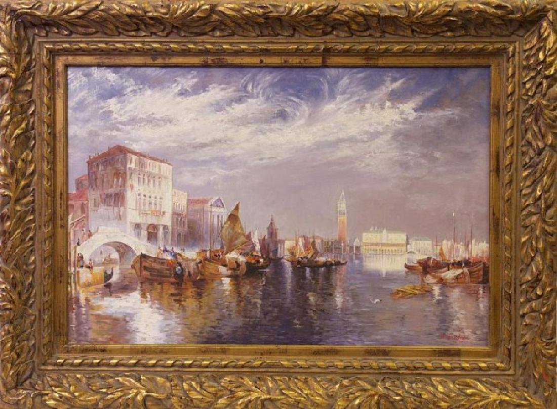 OIL ON CANVAS PAINTING OF A CITY HARBOR SCENE