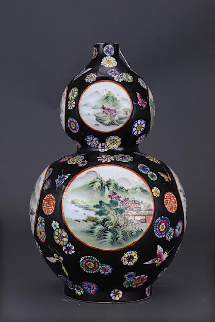 CHINESE FAMILLE NOIR DOUBLE-GOURD VASE