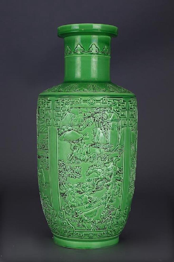 CHINESE GREEN GLAZED ROULEAU VASE