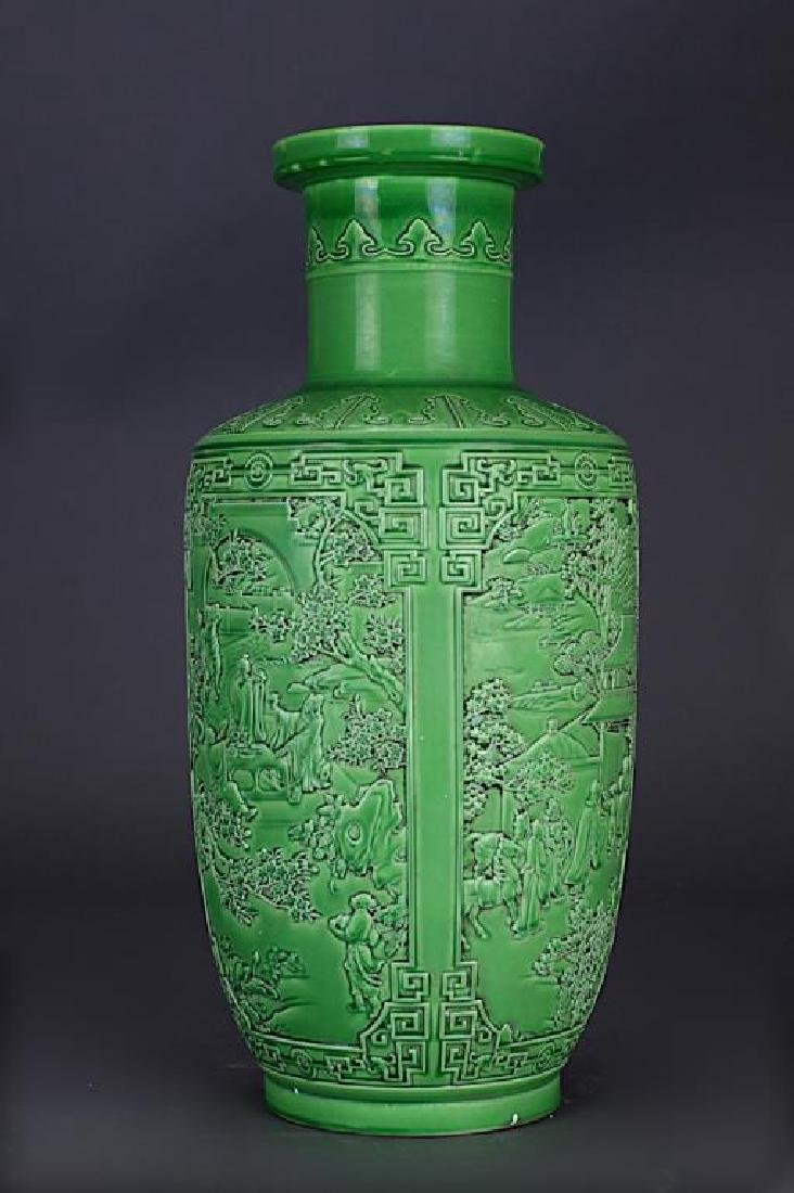 CHINESE GREEN GLAZED ROULEAU VASE - 2