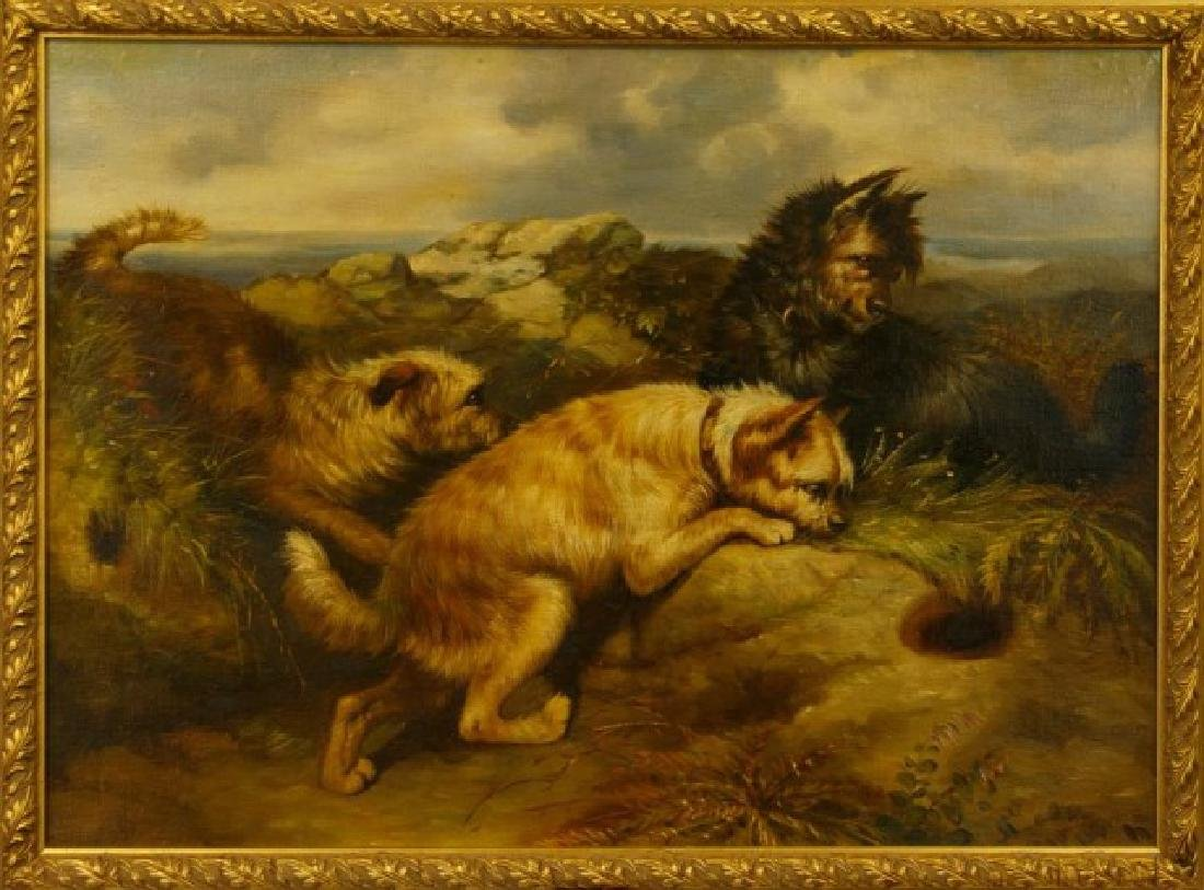 FRAMED OIL PAINTING OF THREE DOGS