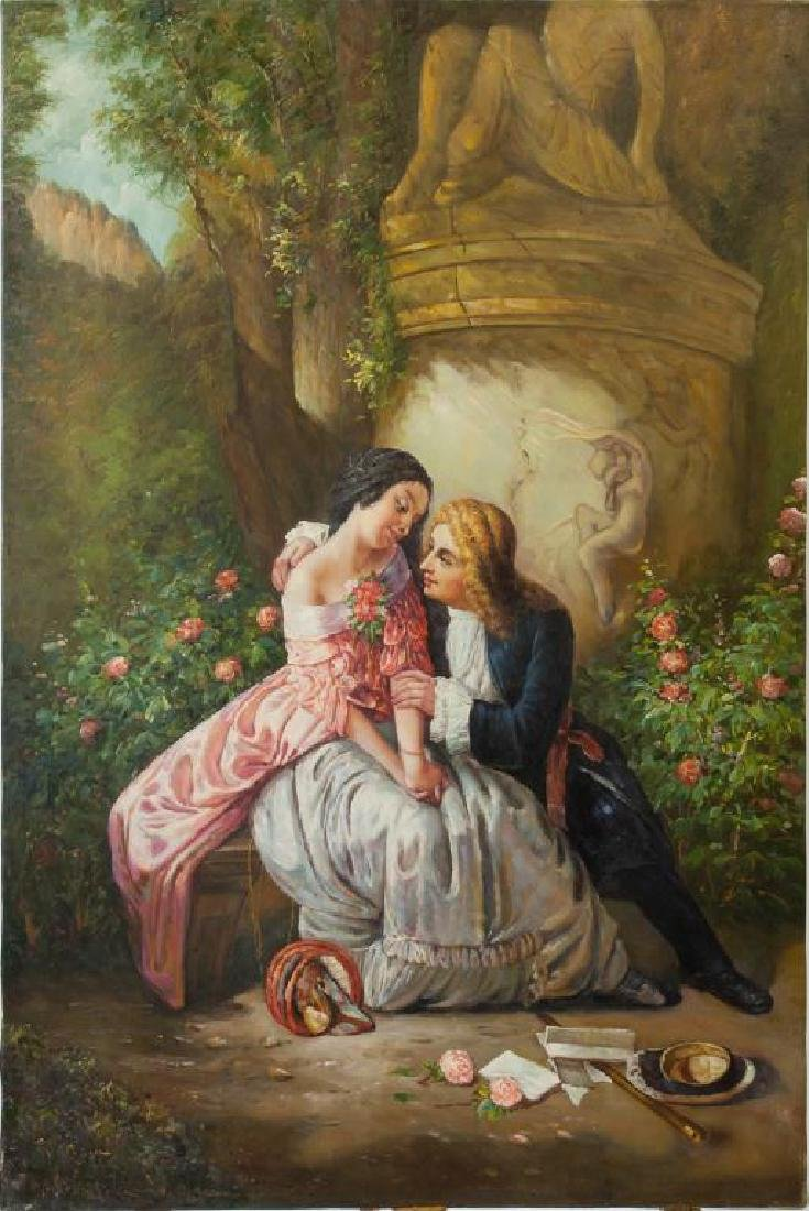 OIL ON CANVAS PAINTING OF AN AMOROUS COUPLE