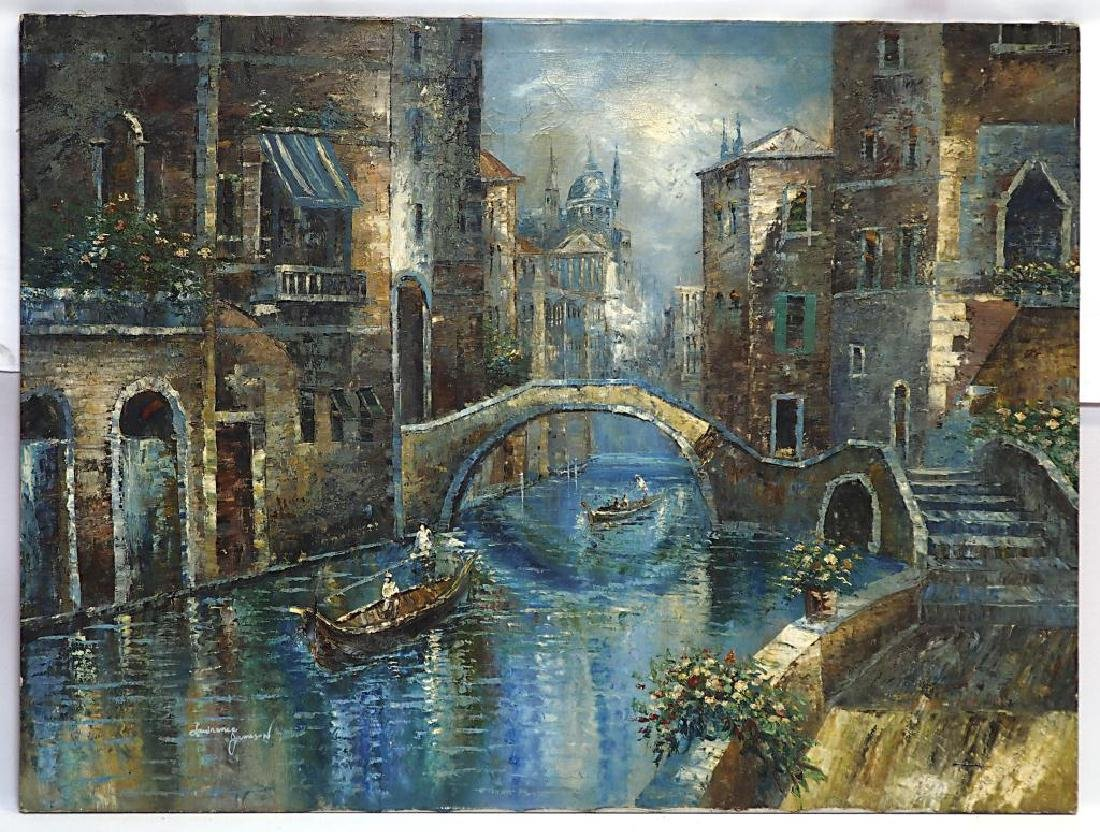 CANAL TOWN OIL ON CANVAS PAINTING