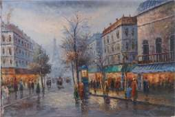 OIL PAINTING ON CANVAS OF PARIS STREET VIEW