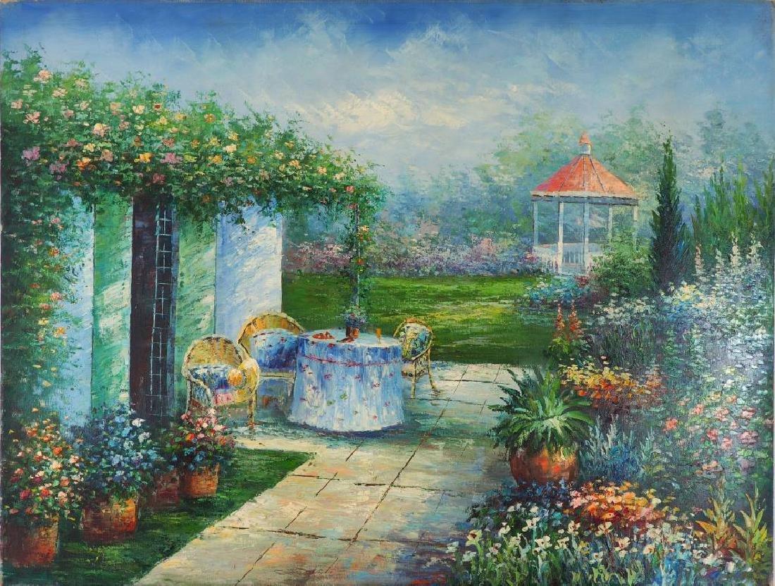 painting on canvas of backyard garden