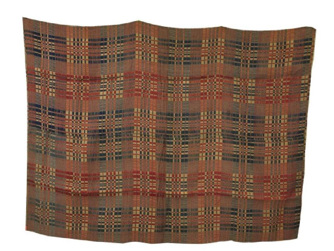 EARLY 19TH CENTURY AMERICAN WOVEN COVERLET