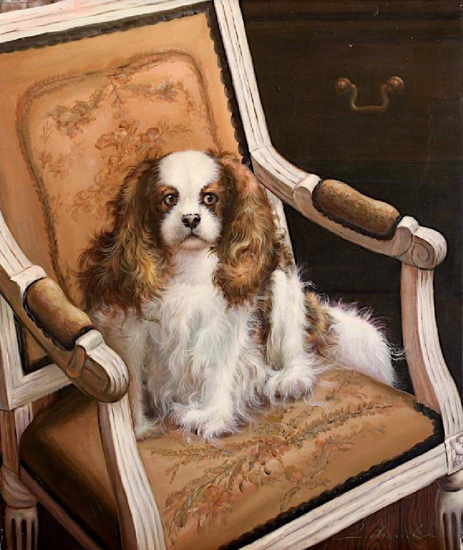 OIL PAINTING ON CANVAS OF A SPANIEL PUPPY