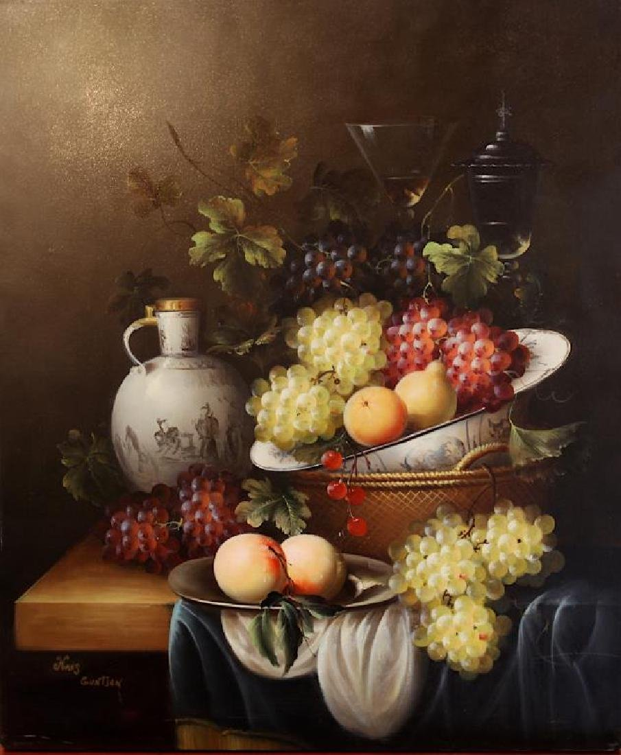 STILL LIFE OIL ON CANVAS PAINTING OF FRUITS