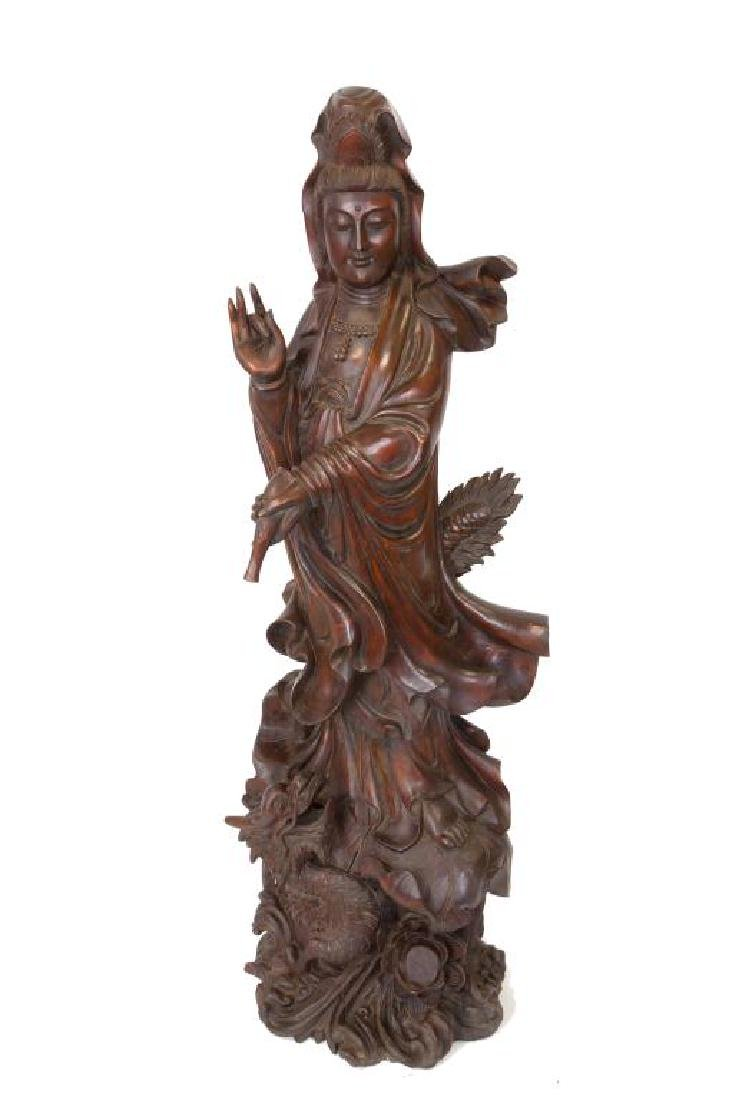 ANTIQUE LARGE CARVED CHINESE WOOD STANDING GUANYIN
