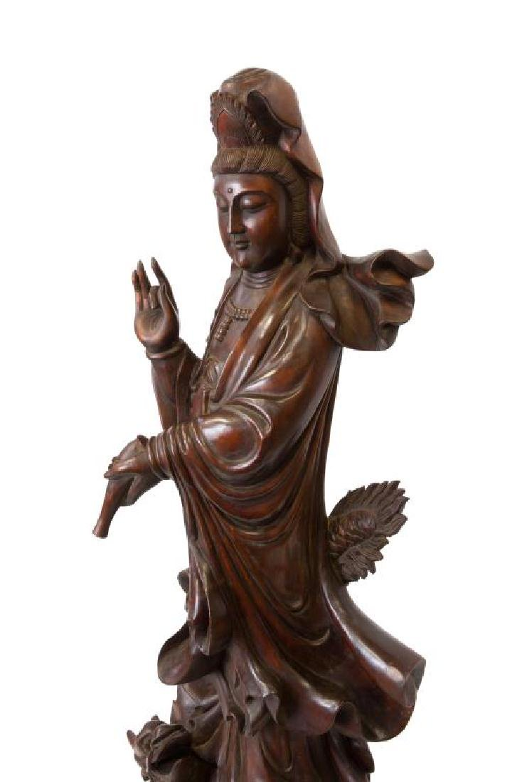 ANTIQUE LARGE CARVED CHINESE WOOD STANDING GUANYIN - 2