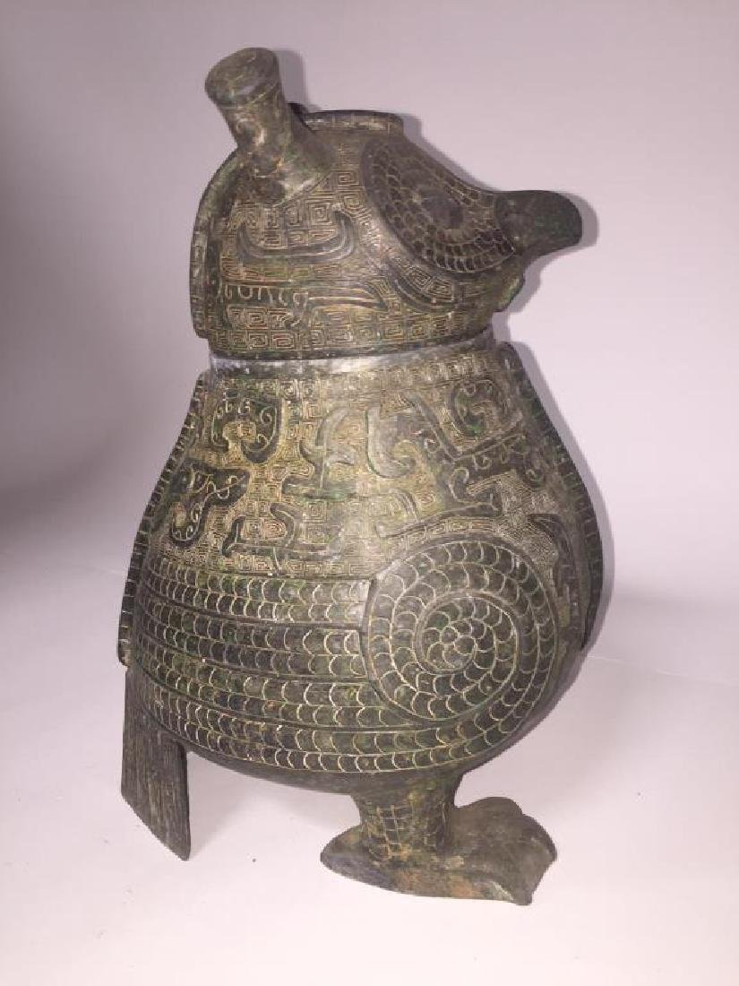 ANTIQUE CHINESE BRONZE OWL - 2
