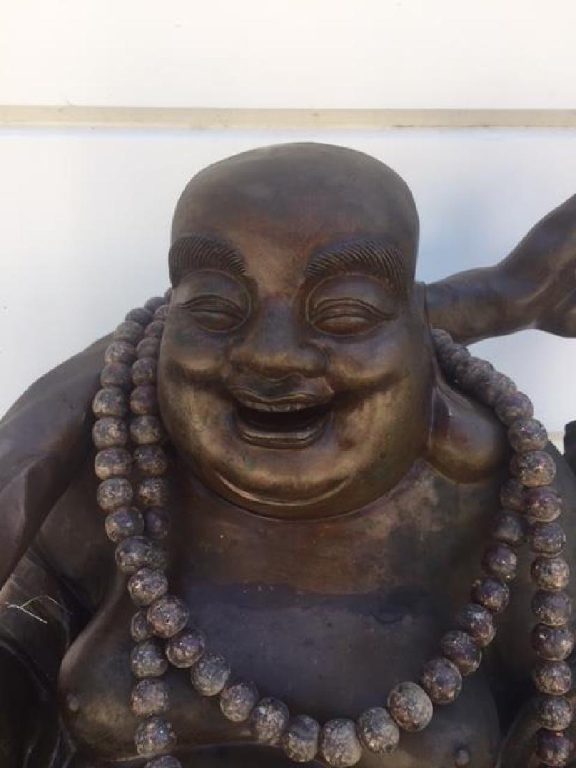 VERY LARGE BRONZE STANDING HAPPY BUDDHA - 2