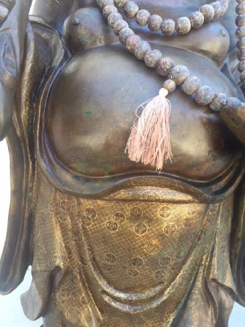 VERY LARGE BRONZE STANDING HAPPY BUDDHA - 4