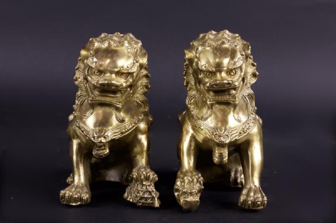 PAIR OF BRONZE FOO LIONS