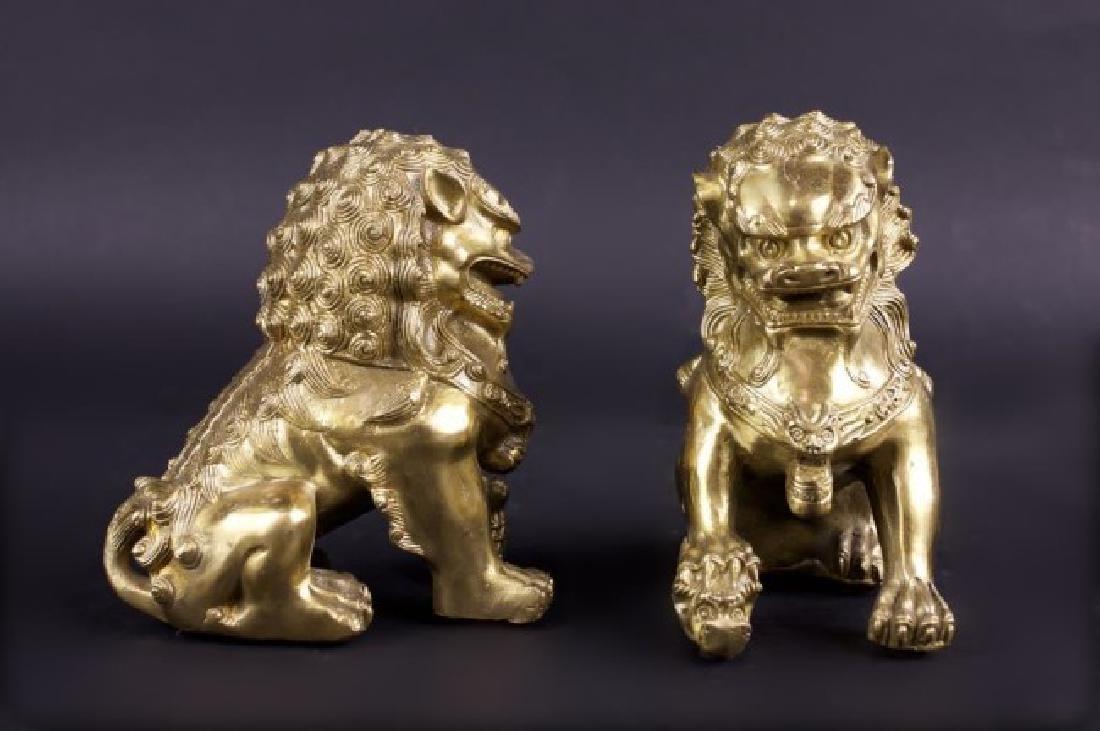 PAIR OF BRONZE FOO LIONS - 2