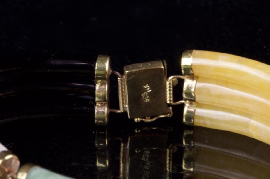 BURMESE JADE BRACELET WITH 14K GOLD - 2